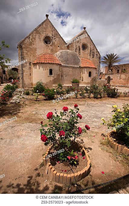View to the Arkadi Monastery with the roses in the foreground, Rethymno Province, Crete, Greek Islands, Greece, Europe