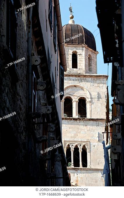 Belfry of the Franciscan Monastery at main boulevard Stadrun , Old Town, Dubrovnik  Croatia