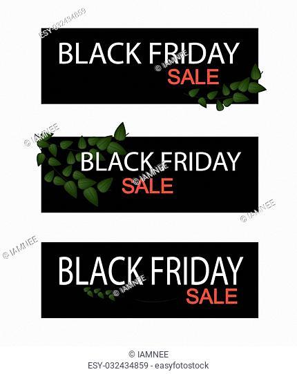 Illustration of Ficus Pumila or Creeper Plant on Black Friday Shopping Banner for Start Christmas Shopping Season