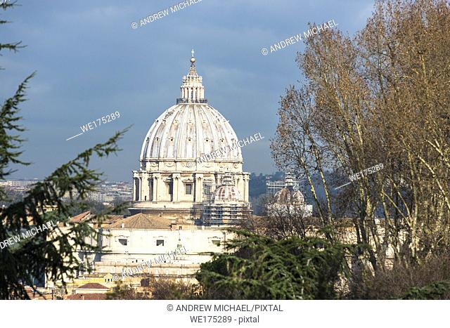 St Peter's Cathedral Cupola seen from from Janiculum Terrace. Rome, Lazio, Italy