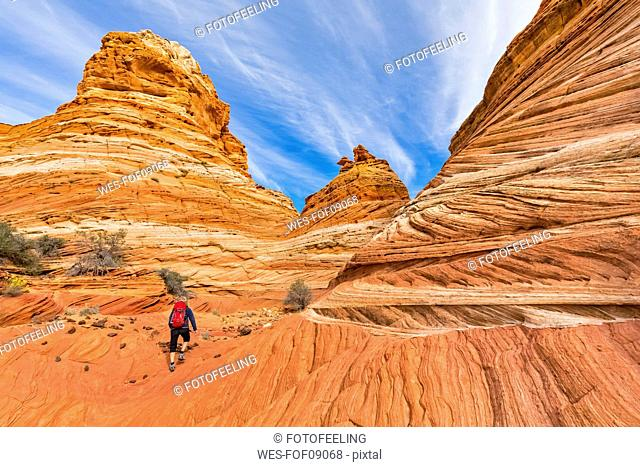 USA, Arizona, Page, Paria Canyon, Vermillion Cliffs Wilderness, Coyote Buttes, tourist hiking at red stone pyramids and buttes