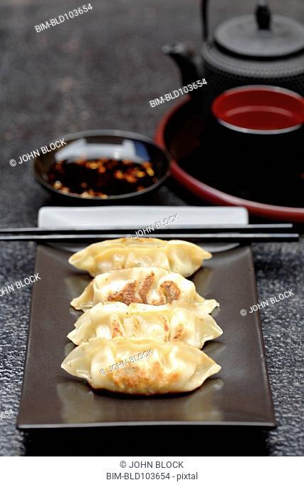 Asian fried dumplings on tray