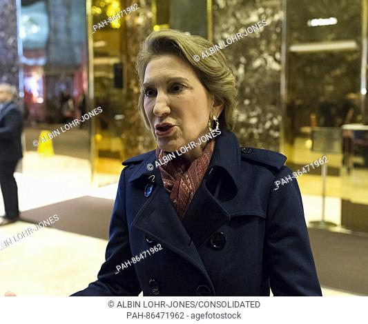 Former Republican presidential primary candidate Carly Fiorina speaks in the lobby of Trump Tower following Ms. Fiorina's meeting with President-elect Donald...