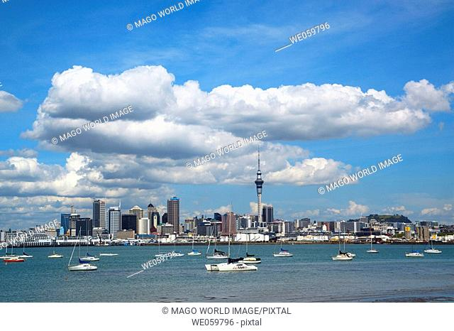 New Zealand, North Island, Auckland, view of Auckland CBD from the northshore
