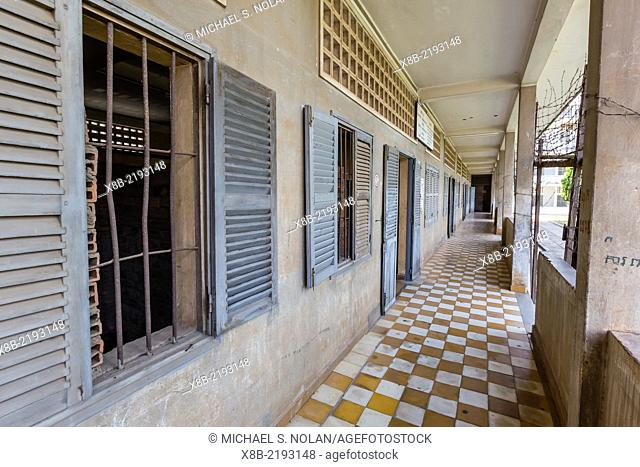 The Tuol Sleng Genocide Museum, a former high school and the site of Security Prison 21 under the Khmer Rouge, Phnom Penh, Cambodia, Khmer