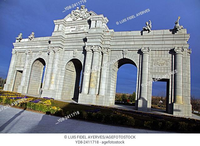 Replica of Puerta de Alcala in the europa park Torrejón de Ardoz, Madrid, Spain