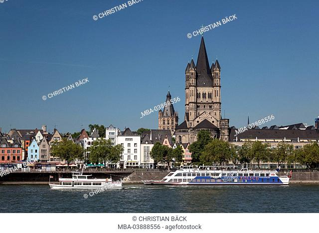 The Rhine River in front of the Church Groß St. Martin, Cologne, North Rhine-Westphalia, Germany