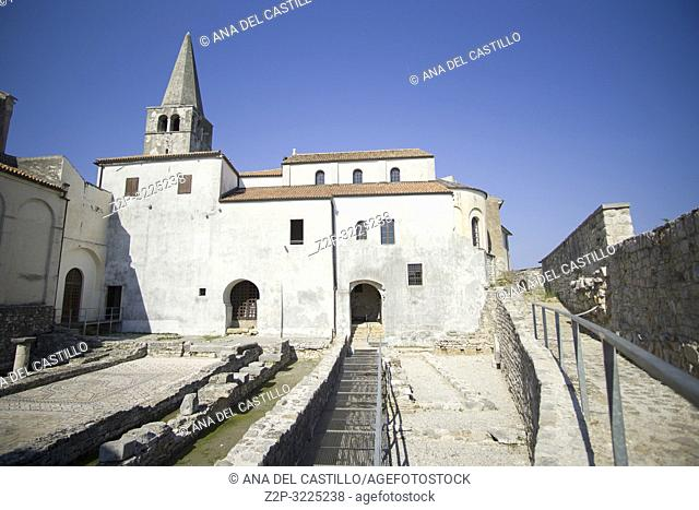 POREC CROATIA ON AUGUST 20, 2018: Euphrasian Basilica is UNESCO heritage site in Porec old town