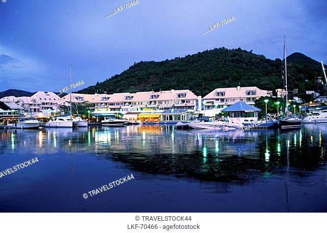 Small Antilles, Saint Martin, Marigot, Harbour at night