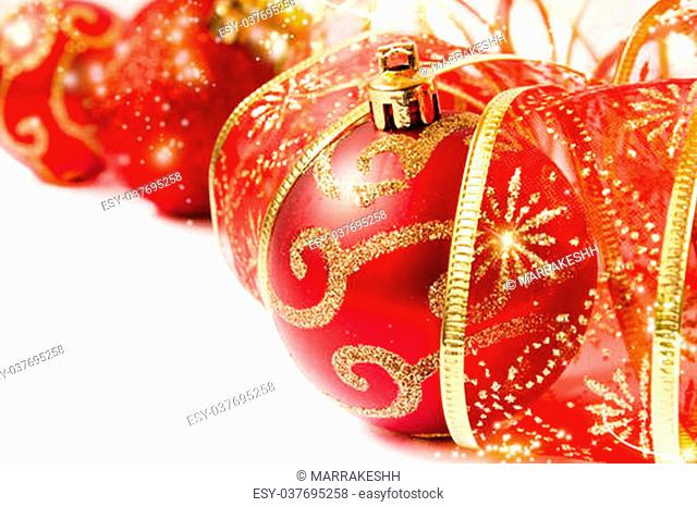 red christmas balls and ribbon, glittery christmas decoration