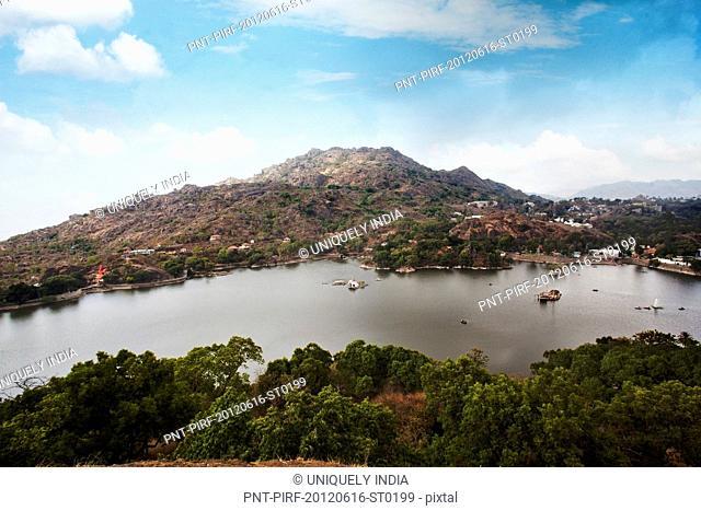 High angle view of a lake, Nakki Lake, Mount Abu, Sirohi District, Rajasthan, India