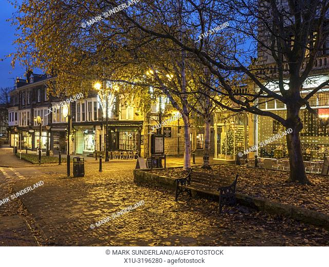 Autumn trees in the Montpellier Quarter at dusk Harrogate North Yorkshire England