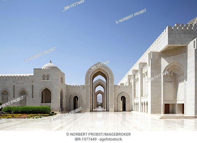 Place with pointed arch, gate, Sultan Qaboos Grand Mosque, Muscat capital, Sultanate of Oman, gulf states, Arabic Peninsula, Middle East, Asia