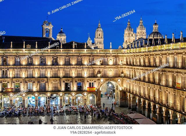Salamanca Plaza Mayor with Cathedrals and La Clerecia towers, Big Square by night, XvIIIth century, by Alberto de Churriguera and Andres Garcia de Quinones
