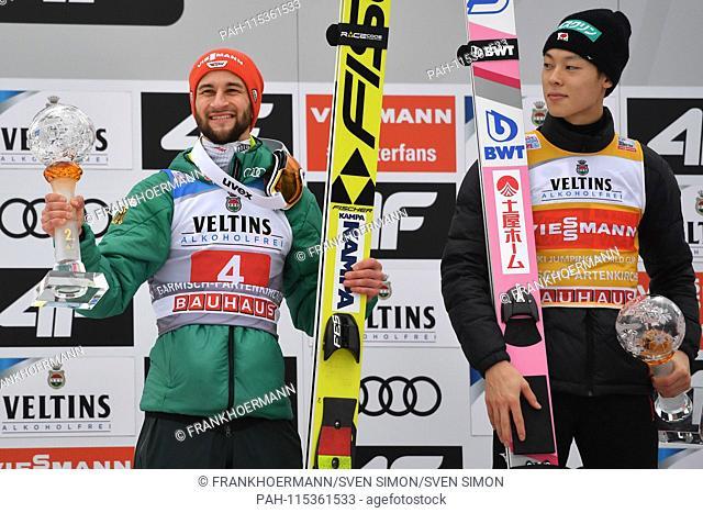 v.li: Mark EISENBICHLER (GER), Ryoyu KOBAYASHI (JPN), award ceremony, ski jumping, 67th International Four Hills Tournament 2018/19