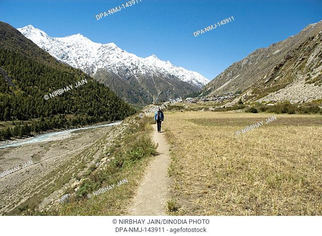 Chitkul valley & Kinner Kailash snow covered mountain range at Chitkul ; Sangla Valley ; Himachal Pradesh ; India
