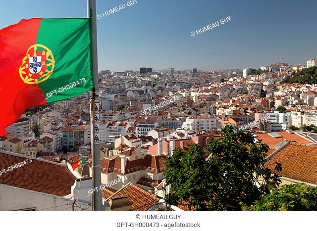 PORTUGUESE FLAG AND PANORAMIC VIEW FROM THE SENHORA DO MONTE VIEW POINT, LISBON, PORTUGAL