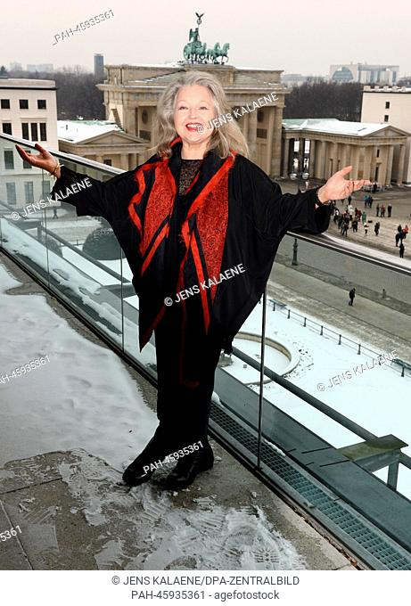 Actress Hanna Schygulla poses on a balcony at the Academy of Arts at the Brandenburg Gate in Berlin, Germany, 31 January 2014