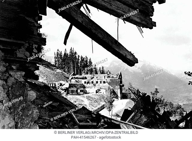View of the destroyed Berghof, the country house of Adolf Hitler and for a limited period Führer headquarters, on the Obersalzberg near Berchtesgarden, Germany
