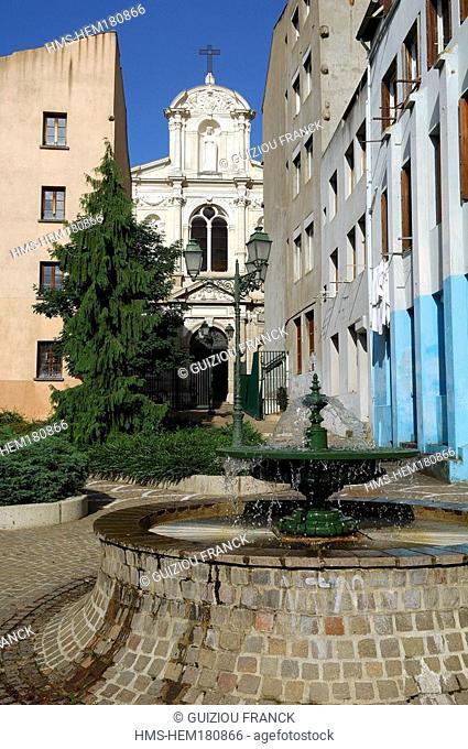 France, Loire, Saint Etienne, Saint Jacques district and Notre Dame church at the background