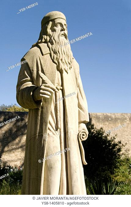 Spain, Balearic Islands, Mallorca, sculpture of the philosopher and writer Ramon Llull