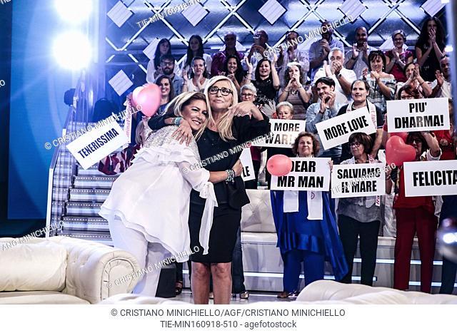The singer Romina Power, the tv host Mara Venier during the tv show Domenic In, Rome, ITALY-16-09-2018