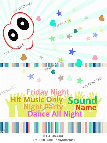 Vertical blue music party background with graphic elements and text