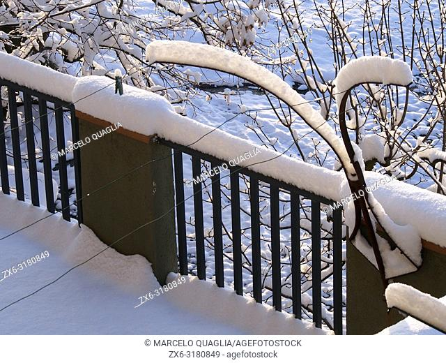 Balcony covered by snow after storm. Early morning at Santa Eulàlia village. Lluçanès region, Barcelona province, Catalonia, Spain