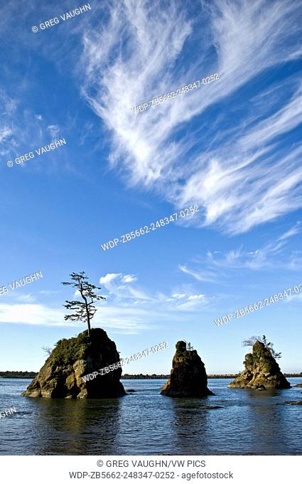 The Three Graces sea stacks in Tillamook Bay near Barview on the northern Oregon coast
