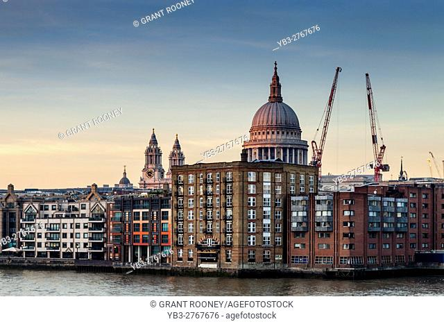 St Paul's Cathedral and Riverside Apartments, London, England