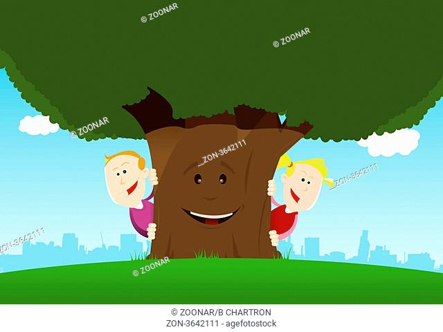 Illustration of cute cartoon kids hiding behind an nice anthropomorphic tree
