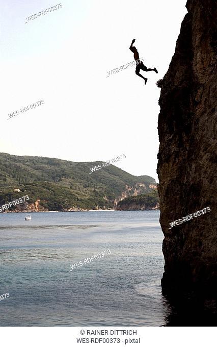 Greece, Korfu, Cliff jumping