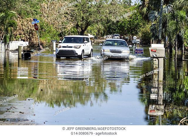 Florida, Bonita Springs, after Hurricane Irma wind rain damage destruction aftermath, , flooding, house home residence, neighborhood, stagnant water