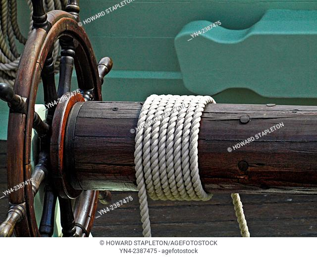 Manual winch on an old sailing ship
