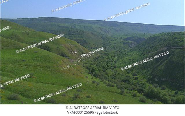 Aerial footage of Wadi Semech in southern Golan Heights; Israel