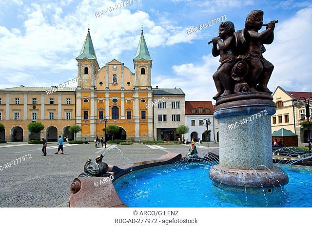 Fountain and church, Namesti Marianske square, Zilina, Slovakia