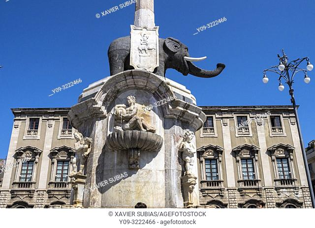 Piazza del Duomo, U Liotru, Catania, Sicily, Italy