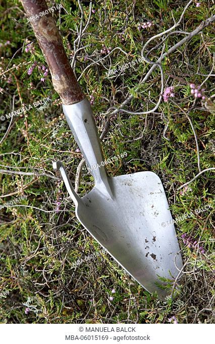old tools of the German heath shepherd, shepherd shovel, close-up, detail