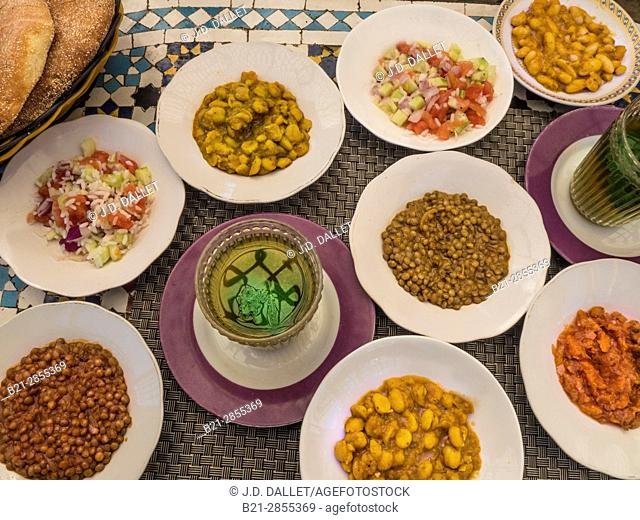 Morocco, Food, Moroccan salads, with green mint tea
