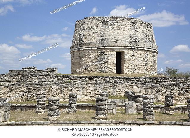 Chac Complex (foreground), Observatory (background), Mayan Ruins, Mayapan Archaeological Site, Yucatan, Mexico