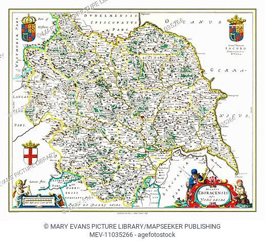 Map of Yorkshire by Johan Blaeu