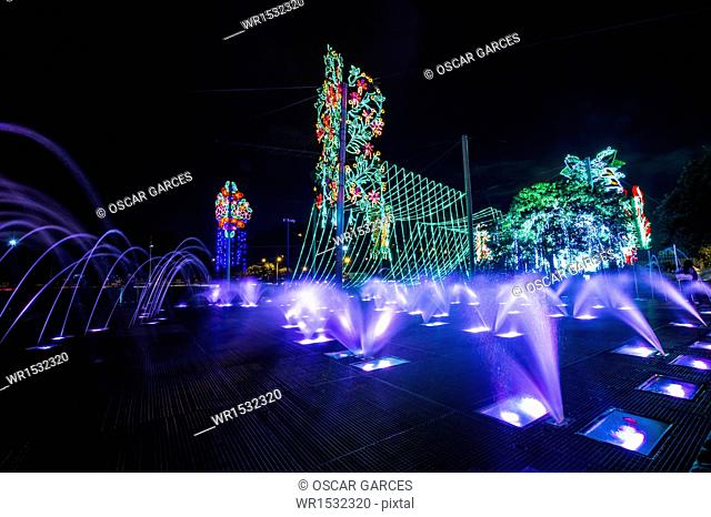 Lightings in Medellin River, Medellin, Antioquia, Colombia