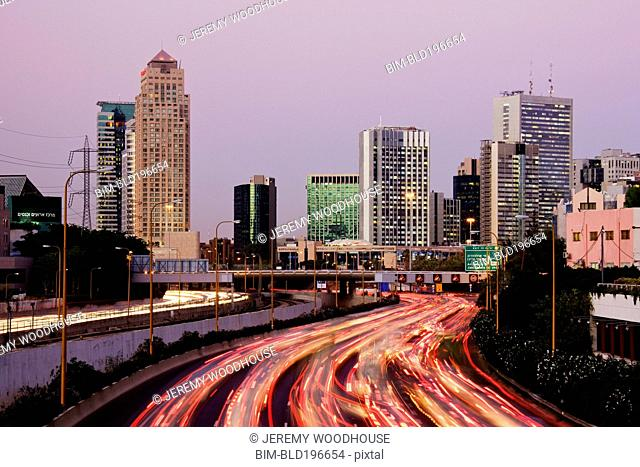 Streaking taillights of city commuter traffic