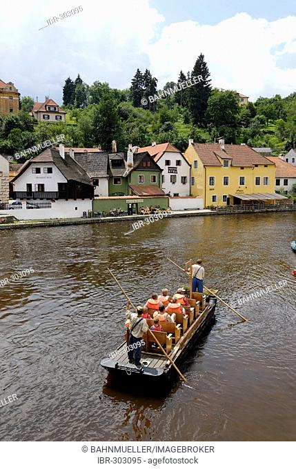 Cesky Krumlov Krumau at the Moldau Vltava Bohemian Forest Sumava Czech Republik in the Oldt town center canoes on the river