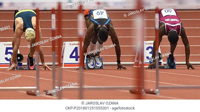 From left SIMON KRAUSS of France, JARRET EATON of USA, HASSANE FOFANA of Italy on the start of the men's 60m hurdles during the Czech Indoor Gala