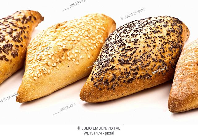 various types of seed bread on white base