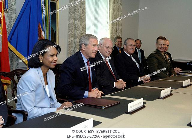 President George W. Bush traveled to the Pentagon August 14 2006 to meeting with Secretary of Defense Donald H. Rumsfeld and his staff at the Pentagon