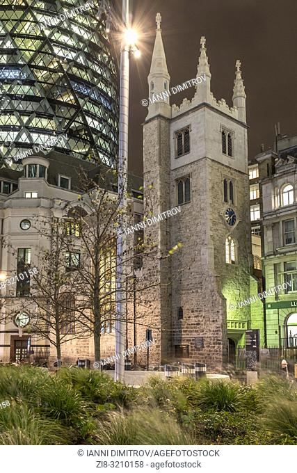 England, City of London, St Andrew Undershaft Church- historic Church amid modern offices. 15th-century church that survived 1666's Fire of London and the Blitz