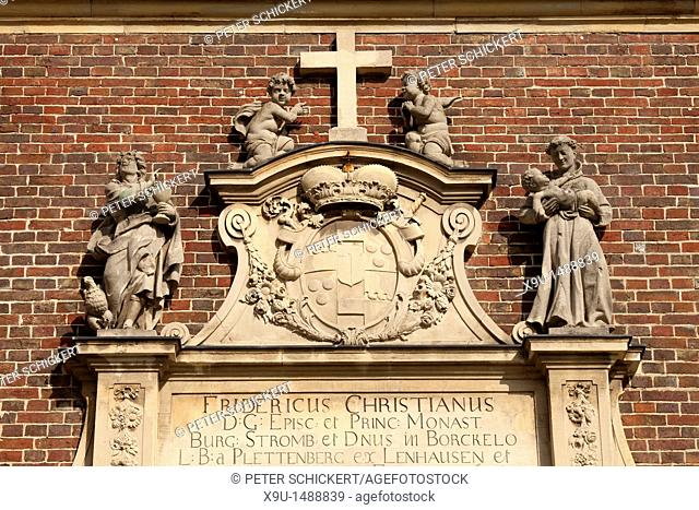 cross and statues at the Chapel of Schloss Nordkirchen castle in the Muensterland region, North Rhine-Westphalia, Germany, Europe