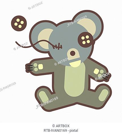 Teddy bear with a button eye missing